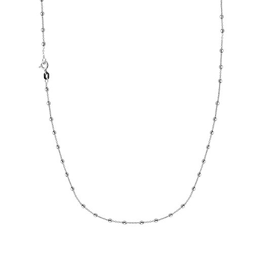 Ritastephens Sterling Silver Italian Ball Beaded Station Rolo Chain Necklace 18 inch