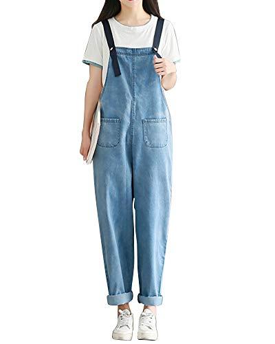 Leisure Donna Dritto In Tuta Jumpsuit Sciolto Pantaloni Jeans Salopette Blu Bavaglino Kasen 8wZTqq