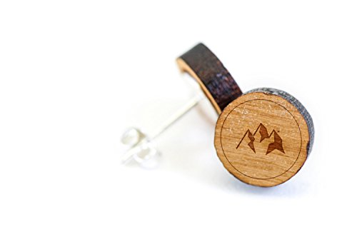 WOODEN ACCESSORIES COMPANY Wooden Stud Earrings With Mountains Laser Engraved Design - Premium American Cherry Wood Hiker Earrings - 1 cm Diameter