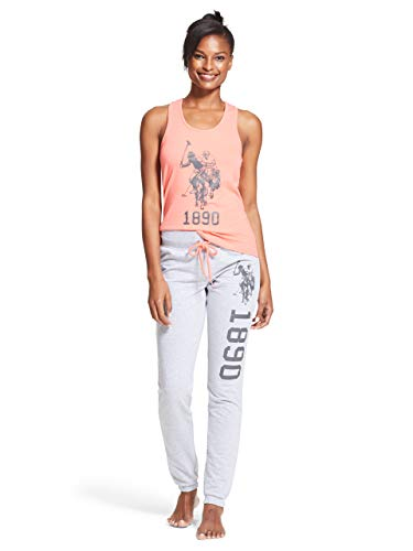 U.S. Polo Assn. Womens 2 Piece Tank Top Shirt Elastic Waist Pajama Yoga Sweatpants Coral Small