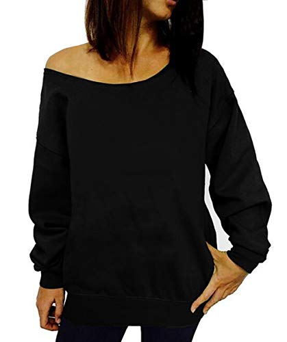 Dutebare Women Off Shoulder Sweatshirt Slouchy Shirt Long Sleeve Pullover Tops Black a L