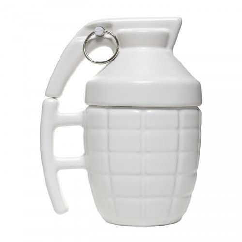 BonZeal Drinkware Creative Ceramic Army Grenade Boom Mug Glass Cup With Cover Lid 280Ml