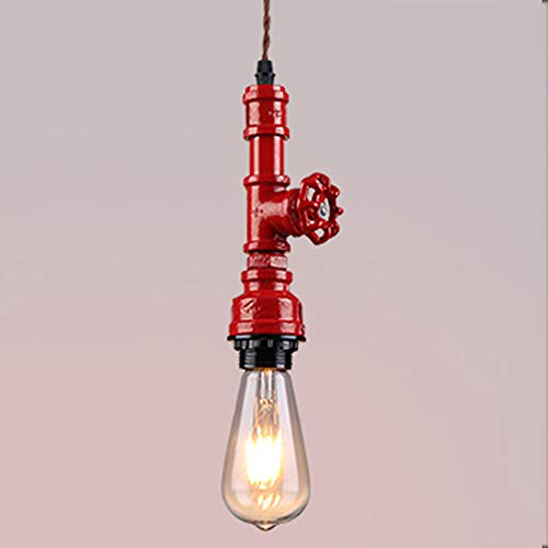 TZZ Multicolor Vintage Industrial Pipe Light Fixture, Farmhouse Style Metal Pendant Lights, Aged Rustic Bronze Hanging Lamp, for Home Kitchen Bathroom Ceiling Fan Lighting (Color : Red)