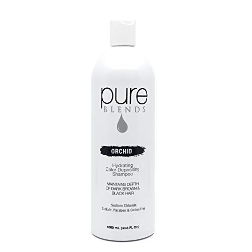 Pure Blends Hydrating Color Depositing Shampoo - Orchid (Dark Brown to Black Hair) 33.8 Ounce - Salon Quality