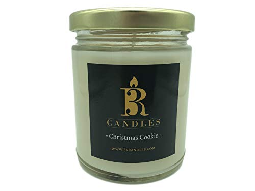 3R Candles Christmas Cookie Scented Candle Soy/Paraffin Wax Glass jar - Fall & Winter Home Decor Gifts for Holiday & Christmas Season - Essential Ideas - with Vanilla Bean & Nutmeg