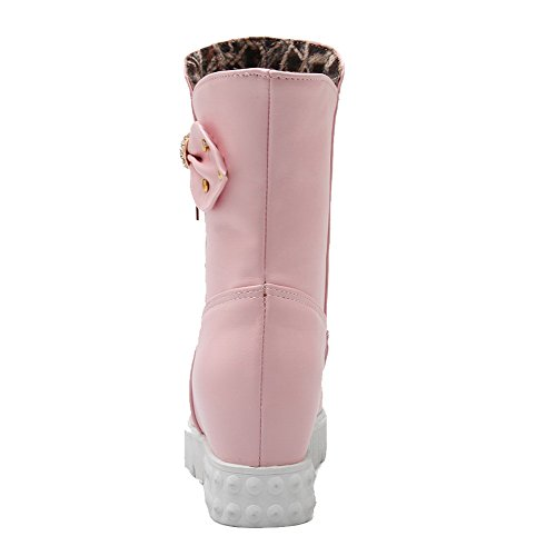 with Pull Kitten Heels Soft WeenFashion Solid Bows Boots Toe Material On Round Closed Pink Women's 1gqUA