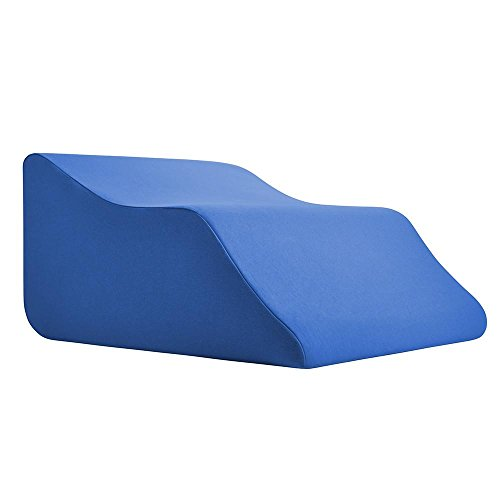 Lounge-Doctor-Elevating-Leg-Rest-Pillow-Wedge-Foam-wBlue-Cover-Medium-Foot-pillow-Leg-Support-leg-swelling-vein-issues-lymphedema-restless-legs-Pregnancy