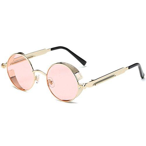 size Rosado Retro redondo One Sra inspirado GAOLIXIA Gafas reflexivas estilo círculo tamaño sol de Steampunk metal polarizadas de sol gafas Rosado hombres para Color xIwgw1Bq