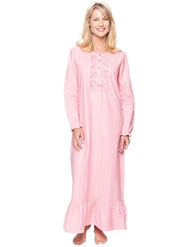 Ladies Flannel Nightgowns - Women's Premium Flannel Long Gown - Stripes Pink - Medium