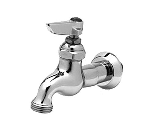 T&S Brass B-0717 Sill Faucet, 1/2-Inch Npt Male Inlet, Lever Handle, Adjustable Flange, 3/4-Inch Garden Hose Thread by T&S Brass