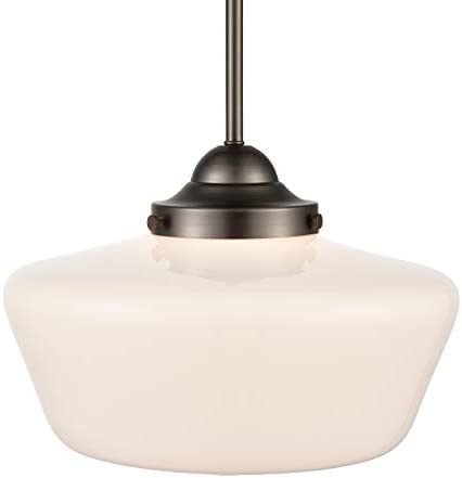 Light Society LS-C251-BZ-WH Portola Schoolhouse Pendant Bronze with White Opal Glass Shade, Classic Vintage Modern Lighting Fixture