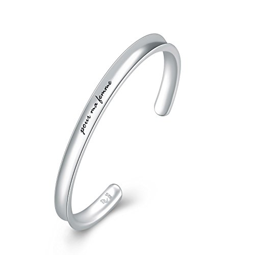 MaBelle Women's 925 Sterling Silver pour mon femme French Statement Concave Bangle (53mm)