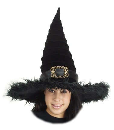 elope All New and Fun Ridged Black Witch Hat in Velvet with Faux Fur