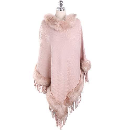 Candy Needlepoint (Women's Elegant Solid Color Sleeve Tassel Fur Collar Cashmere Scarf Shawl Winter Warm Fashion Oversized HunYUN)