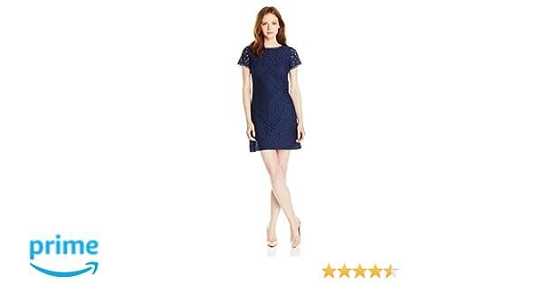 Adrianna Papell Womens Petite Short Sleeve Lace Shift Dress