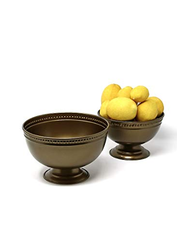 Brass Pedestal Antique (Serene Spaces Living Antique Brass Pedestal Bowl, Versatile Footed Bowl, Set of 2, Measures 4.5