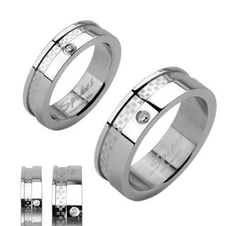 (Stainless Steel Double Layered Dexter Ring with Single Cubic Zirconia)