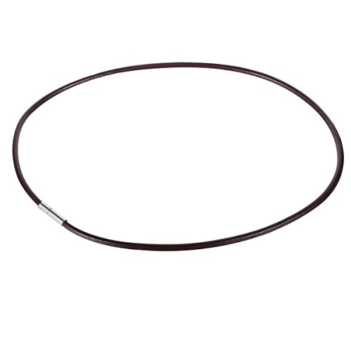 HOUSWEETY Dark Brown Leather with Leather Necklace Cord Rope Chain Stainlee Steel Clasp 50cmx3mm