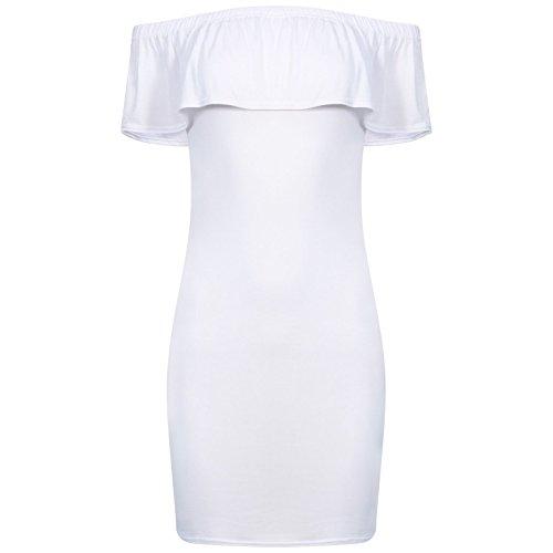Damen -KRAUSE weg Schulter Bardot , figurbetontes Kleid EUR Größe 36-42 Weiß