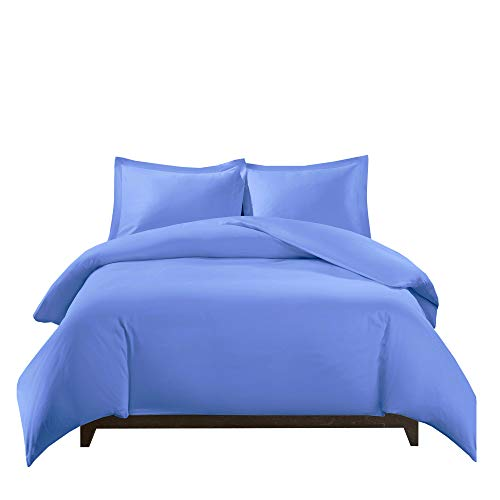 Royal Tradition 100 Percent Bamboo Viscose King/California 3PC Duvet Cover Set, Periwinkle, Super Soft Comforter -