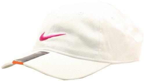 Nike Girls Embroidered Swoosh Logo Cotton Baseball Cap Sz 4/6X (White)