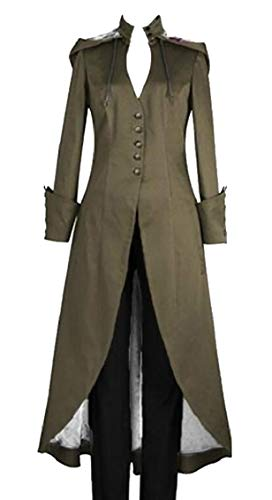 GAGA Womens Costume Gothic Lace up Steampunk Hooded Victorian Tuxedo Coats ArmyGreen L