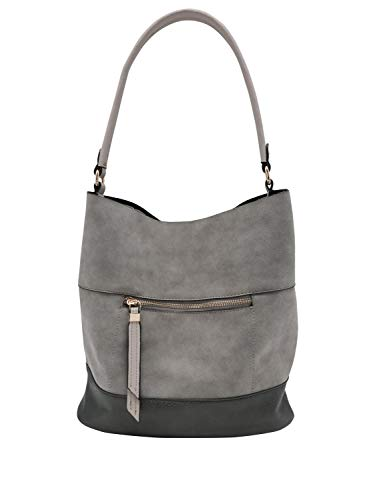 Grey Shoulder Bag Zip Ladies M Pocket Style Hobo Slouch With amp;Co pwBqav