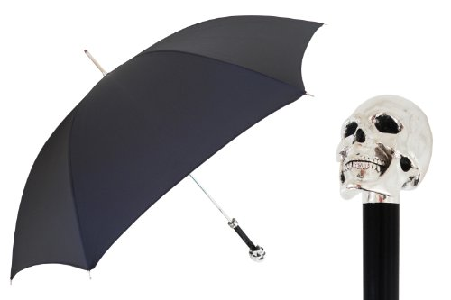 Pasotti Ombrelli Lux Silver Skull Black Luxury Walking Stick Umbrella W33 by Pasotti