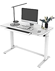 PrimeCables Electric Standing Desk, Sit Stand Desk Height Adjustable from 29.5 to 47 in, All-in-One Standing Desk Glass White Tabletop with Drawer