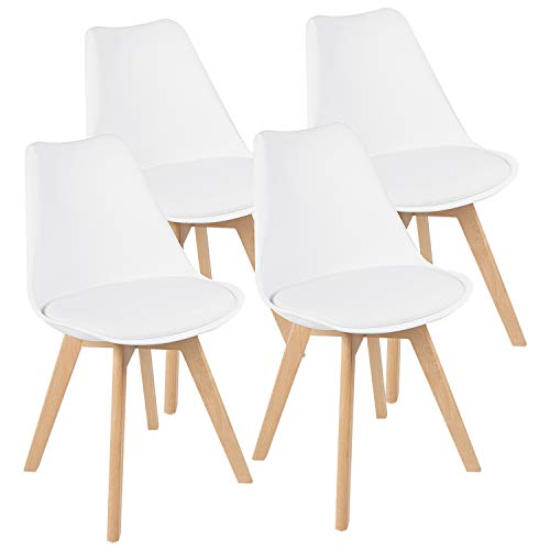 JUMMICO Mid Century Kitchen Dining Chair Wood Legs with Soft Padded Modern Shell Side Chair Armless Tulip Chair Set of 4 (Upholstered White)