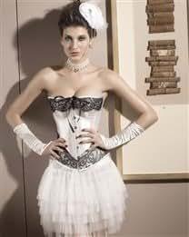 Tassels Decor Printing Satin Strapless Sleeveless Women Tight Corset Thong Set 2Pcs
