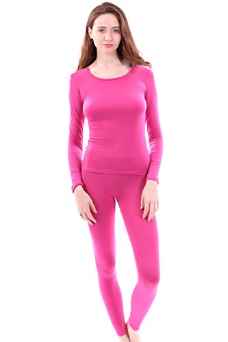 (Women's Microfiber Fleece Thermal Underwear Long Johns Set AZ 2000 Pink)