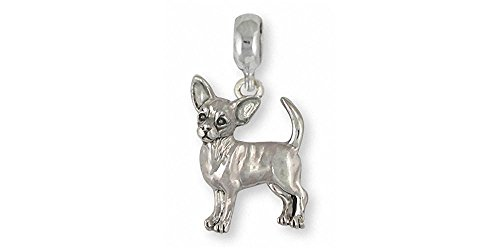 Chihuahua Jewelry Sterling Silver Chihuahua Charm Slide Handmade Dog Jewelry CU17S-PNS