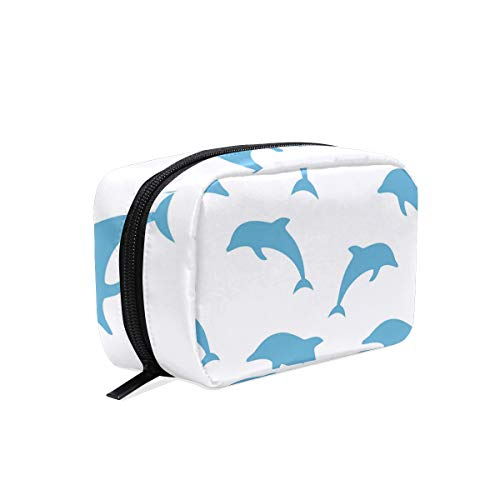 Miami Dolphin Swimming Cosmetic Bag Storage Bag Makeup Jewelry Shaving Tools Portable Cosmetic Pouch Travel Brush Holder -