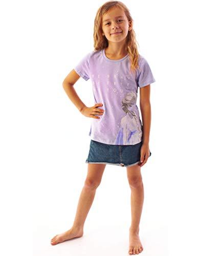 Lila-de-Frozen-2-Corto-Chica-Camiseta-de-la-Manga