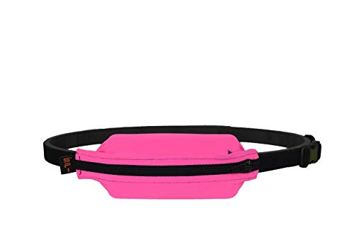 SPIbelt Kids No-Bounce Belt with Hole for Insulin Pump, Medical Devices or Headphones for Active Kids! (Hot Pink with Black Zipper)