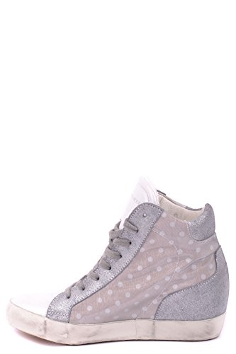 Philippe Model Hi Top Sneakers Donna MCBI238039O Tessuto Argento