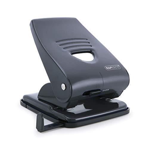 Rapesco 835 - Perforadora metalica, 2 agujeros, hasta 40 hojas de capacidad, color negro