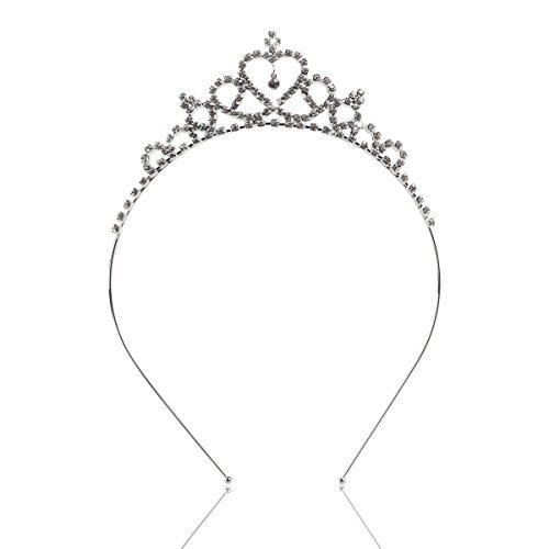 Tinsky Delicate Wedding Party Children Flower Girl Crystal Rhinestones Heart Shaped Crown Headband Tiara (Silver)