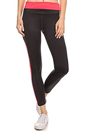 Vialumi Women's Juniors Colorblock Leggings Athletic Pants Black Hot Pink Small