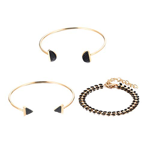 NIHAI 3 Piece Set Women Bracelet Earrings Set, Ears Wheat Chain Open Bracelet Bangle Wristband Party Bangle, Suitable Gift for Mom Girlfriend Good Friend