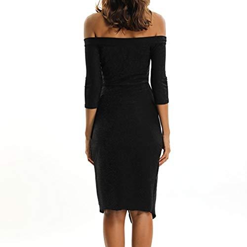 Amazon.com: AMSKY ❤Long Dress, Women Off Shoulder Half Sleeve Maxi Dress Split Beach Dresses Splice Party Cocktail Dress: Clothing