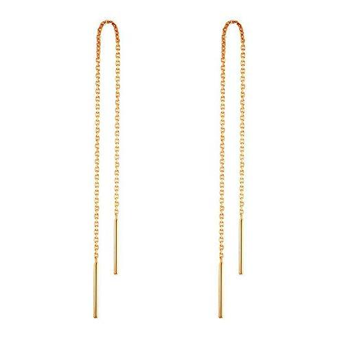- 14k Gold Earrings For Women Dangle Earrings Drop Thread Dangling Earrings Minimalism Dipped Long Chain Earring (Gold)