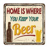New Beer Tin Sign Home is Where You Keep Your Beer Vintage Funny Rustic Metal Tin Sign Pub Store Man Cave Wall Decor Art 12 Inches x 8 inches TSC205