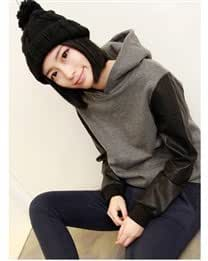 Fashion Casual Long Sleeve Pullover Hooded PU Jointing Cotton Women Hoodie