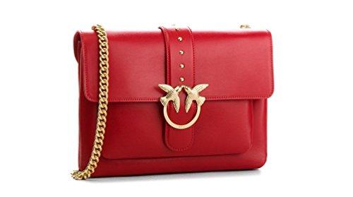 Pinko Big Love Simply Tracolla Vitello Seta - Shoppers y bolsos de hombro Mujer Rojo (Rosso Jolly)