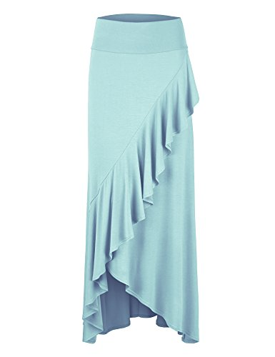 Lock and Love Womens Wrapped High Low Ruffle Maxi Skirt S Aqua