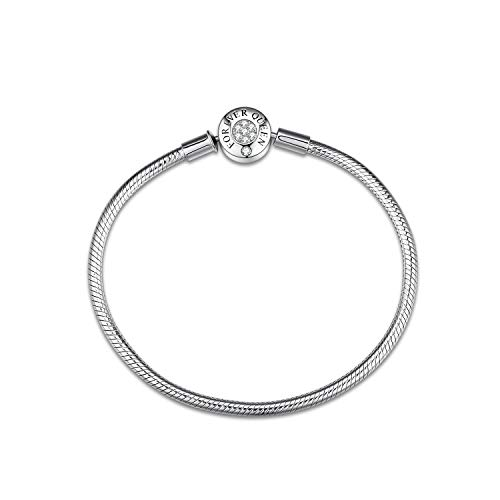 FOREVER QUEEN Charm Bracelet fit Pandora Charms, 925 Sterling Silver Basic Snake Chain Bracelet for Women Girls, Silver Signature Bracelet with Sparkling Round Clasp Charm, Clear CZ, 17cm/6.7 inches