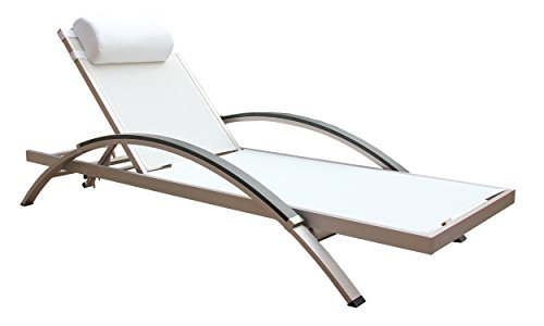 Boraam 76686 Fresca Outdoor Lounge Chair, 15.5-Inch, White, Set of 2
