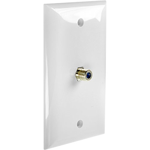 Mediabridge Wall Plate with F81 Jack (1-Port) - White (Flat Rf Video Cables)